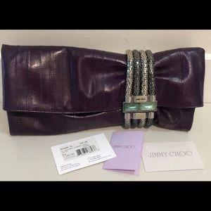 $1595 NWT JIMMY CHOO ELL SKIN CHANDRA CLUTCH